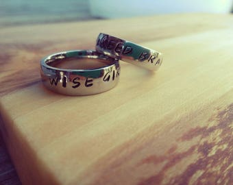 Seaweed Brain/Wise Girl stainless steel ring handstamped.  From the popular book Percy Jackson and the Olympians.