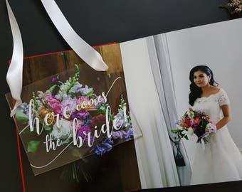 Here comes the bride clear acrylic perspex wedding sign, flowergirl ring bearer page boy sign