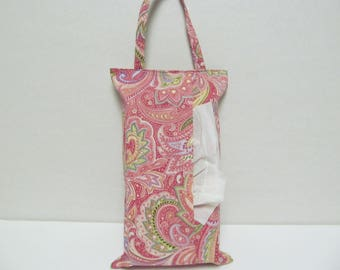 Hanging Tissue Box Cover For 85Count Kleenex/Pink Paisley