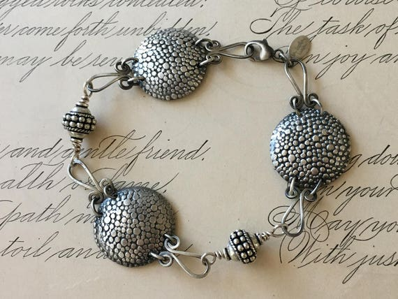 Antique Button Bracelet | Handmade Chain | Silver Chain Bracelet