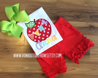 Apple Back to School First Day of School Icing Shorts Boutique Bow preschool red Yellow Polka Dot Applique