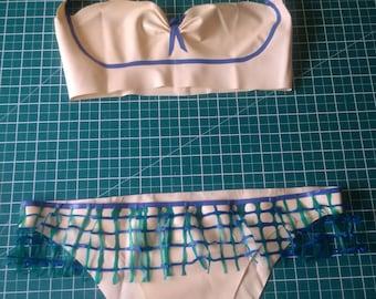 Latex Net Trim Bikini Set, UK Size 8