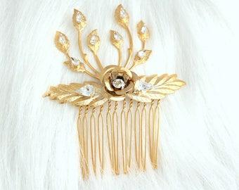 Bridal Hair Comb, Swarovski Hair Comb, Rhinestone Hair Comb, Bridal Hair Accessories, Rose Gold Hair Comb ,Bridal Silver Hair Comb