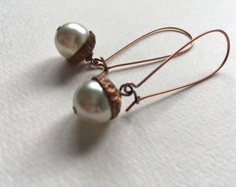 Swarovski Pearl Acorn Earrings