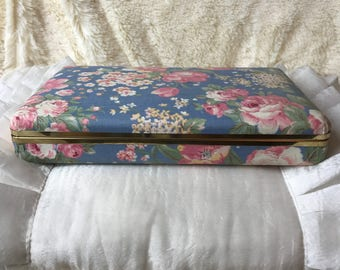Vintage 1980's Blue Floral Print Jewelry Box Container
