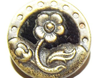 Antique Button ~ Metal Button Velvet Perfume Button ~ Fabric in Metal Button ~ Flower Button