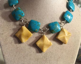 Turquoise Necklace - Gemstone - Statement - Silver Jewelry - Chunky Jewellery - Yellow - Fashion - Beaded