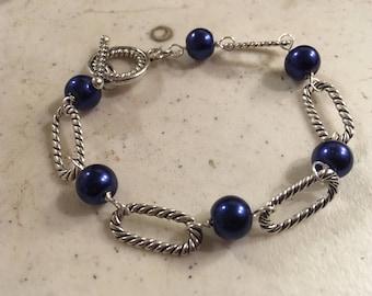 Blue Bracelet - Navy Blue Jewelry - Silver Jewellery - Fashion - Unique