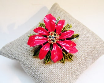 Poinsettia Pin by ART Jewelry, Christmas Brooch, Christmas Flower Pin, Red Enamel Poinsettia Pin