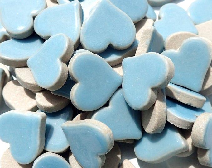 Light Blue Heart Mosaic Tiles - 25 Large Ceramic 5/8 inch Tiles in Sky Blue