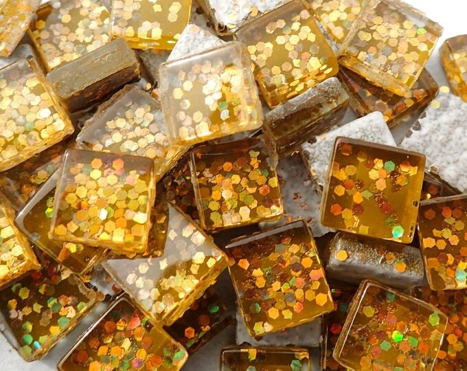 Harvest Gold Glitter Tiles - 1 cm - Use for Mosaic Jewelry Crafts - 100 Metallic Tiny Glass Tiles with Chunky Gold Glitter