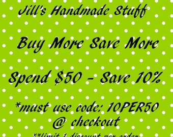 Sale Coupon Code for Jill's Handmade Stuff- 10% Off Order Total, Coworker Gift