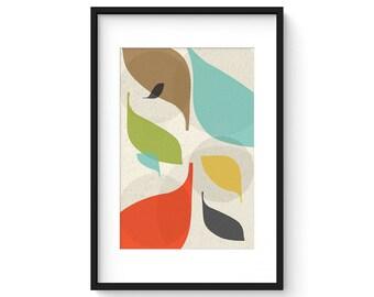 FLOW no.43 - Giclee Print - Mid Century Modern Danish Modern Style Minimalist Modernist Eames Abstract