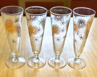 Vintage Mid Century Pilsner Glasses, Set of Four, Mod Atomic Bar Set, Vintage Barware