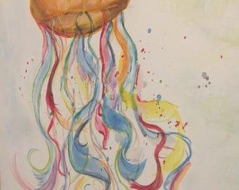 Jellyfish Original Painting 16x20 Canvas