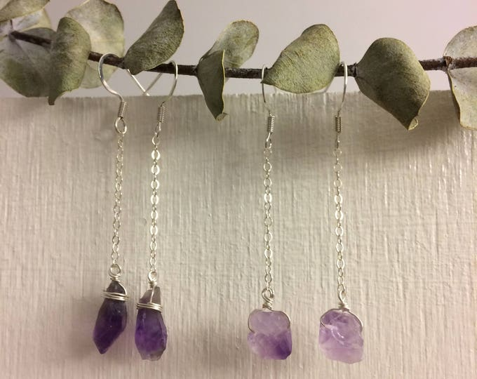 Amethyst Crystal Point Earrings, Quartz Crystal Point Earrings, Raw Crystal Earrings,