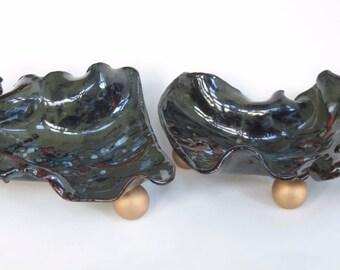2 Piece Contemporary Ceramic Centerpiece Abstract Clay Showcase Tray Decorative Black Dish Ceramic Fine Art Modern Potter