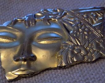 Vintage brooch, half face brooch, signed JJ brooch, modernist brooch, designer brooch, vintage jewelry