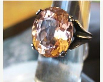 Summer time Sale Event Huge Peach Daiquiri Gemmy Morganite Simulant Ring Sterling silver custom size 4 5 6 7 8 9 10 free fine jewelry matchi
