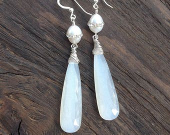 White moonstone earrings with crystal inlaid pearls