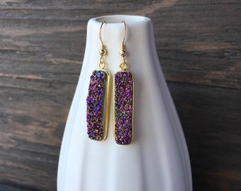 Purple druzy earrings, purple and gold drusy earrings