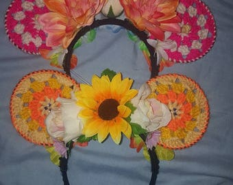 Adult size Crochet inspired mouse mickey ears blooms flowers summer disney holiday disneybound