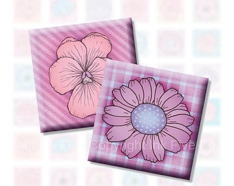 Digital Collage Sheet Funky Flowers 1x1 inch squares for tile pendants and scrapbooking. Digital download. Modern flowers