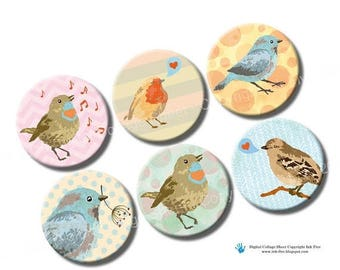1 inch circles Nature Birds. Printable images for bottle caps size magnets, pendants, decors, Diy papers, cards. Digital download