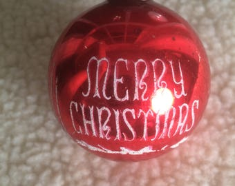 Vintage Red Glass Christmas Ornament 1950's  Stenciled Tree Ornament Made in USA Merry Christmas Seasons Greetings
