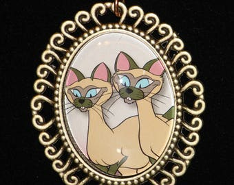 Disney Lady and the Tramp Si and Am Siamese Cat Bronze Filigree Necklace