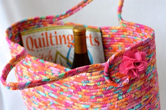 Gorgeous Tote Bag, FREE Shipping. Handmade Modern Pink Basket, Storage Organizer, Knitting Bag, Picnic Gift  Basket, Baby Shower Gift
