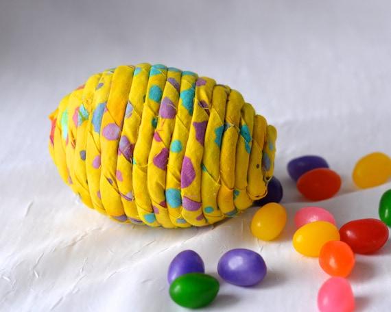 Yellow Easter Egg Ornament, Handmade Easter Basket Filler Egg, Easter Egg Hunt, Hand Coiled Fiber Easter Egg, Artisan Easter Egg