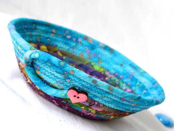 Bohemian Fiber Basket, Blue Boho Basket, Handmade Rustic Batik Key Basket, Boho Chic Decorative  Bowl,  Ring Dish Tray