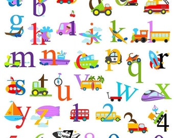 BACK TO SCHOOL Sale Transportation Alphabet Clipart, Transporation Alphabet Clip Art, Construction Clipart, Lowercase and Numbers - Commerci