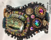 NEW YORK CITY Times Square Glittering Swarovski Crystals   Dichroic  cabochon  Bead Embroidery Cuff