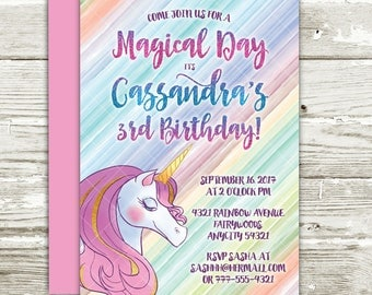 Unicorn Birthday Party Invitation, Magical Whimsical Gold Glitter Rainbow Unicorn Printable Birthday Party Invitation