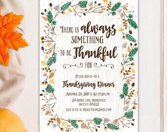 Thanksgiving Dinner Invitation, Fall Autumn Thanksgiving Friends Giving Harvest Feast Celebration Printable Invitation v.3