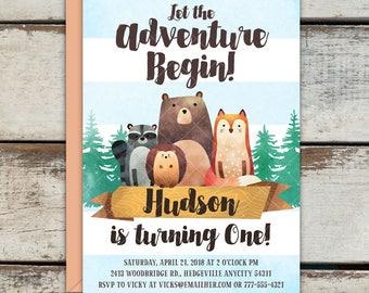 Woodland Animals Birthday Party Invitation, Cute bear, Fox, Porcupine, Raccoon Forest invitation, Woodland Birthday Invitation