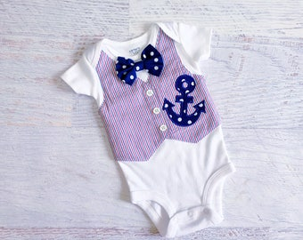 READY TO SHIP Size 3 Months Red White and Blue Anchor Seersucker Tuxedo Bodysuit Vest with Matching Bow Tie