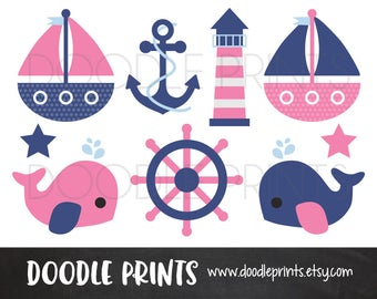 Nautical Clipart, Digital Clip Art, Sail boats, Ocean Whale, Anchor, Pink and Blue Nautical / Girl Navy Pink, Personal and Commercial Use