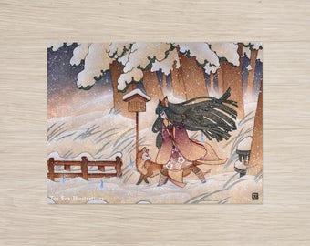 Blustery / Fox, Japanese, Snow, Yokai / 18x24 Poster Print Wall Decor