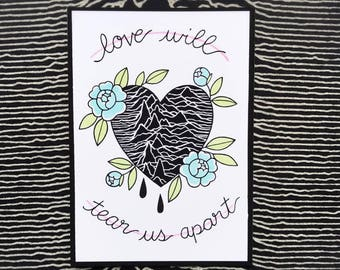 Joy Division Unknown Pleasures Love Will Tear Us Apart Tattoo Flash Print by Michelle Kent