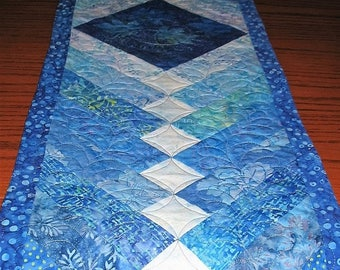 Sale Christmas in July French Braid Table Runner, feather quilting, handmade, blue shades, pieced, patchwork, quilted table runner