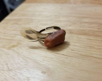 Stone & Feather Ring