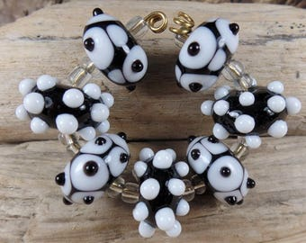 MADE TO ORDER Lampwork Beads: Set of 7 Black & White, homemade glassbeads