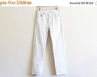 "25% OFF SALE Vintage Levis 501 / White Denim / Made in the USA / Modern and Minimal / Vintage Denim 30"" waist"