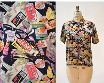 SALE 90s Vintage Nicole Miller Silk Shirt Medicine Film Junk Print Size Small Medium