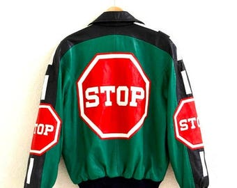SALE Vintage Leather Jacket by Michael Hoban North Beach Stop Sign// Vintage Bomber Black Green Red Leather Jacket Size Small Large