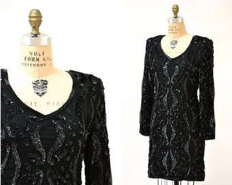 SALE VIntage Black Sequin Dress Size Medium// 80s Sequin Party Prom Flapper Dress Black size Medium// Vintage Black Beaded Dress
