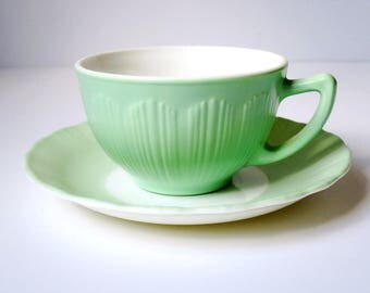 Vintage Pyrex Corning Mint Green Tea Cup and Saucer, Macbeth Evans Pastel Green Tea Cup Set,  Vintage Opaque Glass Teacup Set  SwirlingO11